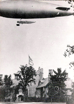 Goodyear blimp over Stan Hywet—c.1920