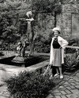 Irene in English Garden at Stan Hywet